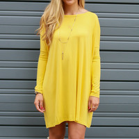 Ellington Mustard Long Sleeve Piko Dress