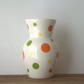 Rare Large Terramoto San Francisco Pottery Multicolor Ceramic Polka Dot Vase