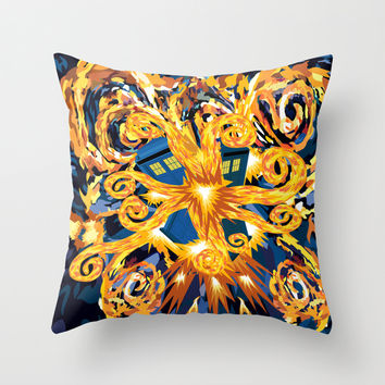 Exploded Blue Phone booth Decorative Throw Pillow Cushion case by Three Second