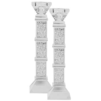 """Crystal And Silver Candlesticks 9""""H X 1.25""""W"""