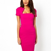 ASOS Pencil Dress In Bengaline With Square Neck