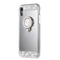 Case For Apple iPhone X iPhone 8 Rhinestone with Stand Back Cover Solid Color Hard Acrylic for iPhone X iPhone 8 Plus iPhone 8 iPhone 7