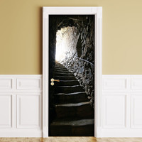 STICKER for Door / Wall / Fridge - Cellar Stairs. Peel & Stick Removable Decole, Mural, Skin, Cover, Wrap, Decal Poster