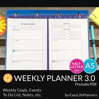 WEEKLY PLANNER A5. Half size printable pdf. Filofax/Personal undated organizer and To Do list. Instant Download. 2 documents.
