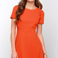 Standing Ovation Coral Red Lace Dress