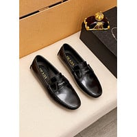 2021 NEW Prada Men's Leather Fashion Business Leather Low Top Platform Loafers Casual Shoes Black