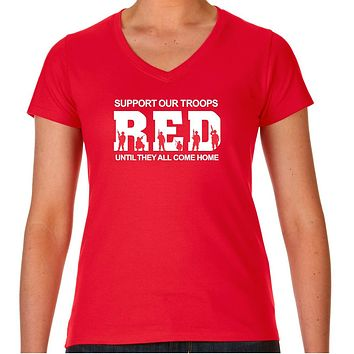 Red Fridays Remember Everyone Deployed Womens V-Neck Cotton Tee
