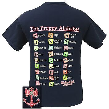 Girlie Girl Original The Preppy Alphabet Anchors Bows Teacher Daycare Comfort Color Bright T Shirt