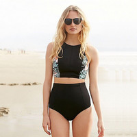 2017 High Waist Women Swimwear Plus Size Swimsuit Vintage Bikini Set Monokini Bathing Suits Beachwear Bikini Maillot De Bain 2XL