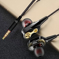Generic 3.5mm Dual Drive Stereo In-Ear Wired Earphone Super Bass Built-in Microphone