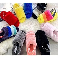 UGG hot sale classic color matching plush slippers for men and women Boots shoes