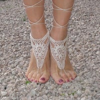 Crochet Barefoot Sandals, Tan Barefoot sandles,Beach Pool,Nude shoes,Foot jewelry