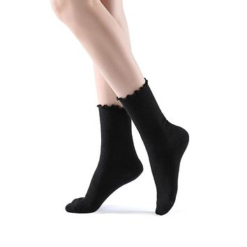 Princess Lulu Ruffle Crew Sock | Black