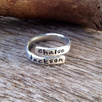 Tiny Personalized Wrap Name Ring adjustable by FarrarCreations