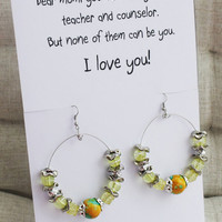 I love you Mom gift card bohemian fashion drop circle beaded yellow alloy girl woman earrings