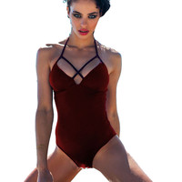 Red Halter Cut-Out Monokini