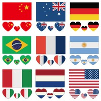 2pcs/lot  Nation Flags Temporary Tattoo Face Body Laptop Stickers Waterproof Reflective Stickers Decals  60*60mm 22colors