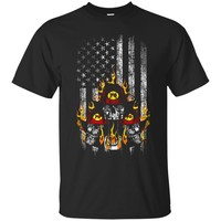 Firefighter T-Shirt American Flag Fireman Skulls_Black