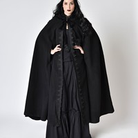 Black Gothic Witch Embroidered Asymmetry Hooded Cloak