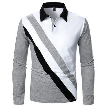 Men's Tricolor Stitched Lapel Long-sleeved Shirts