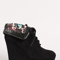 Lace Up Cuff Wedge Ankle Bootie
