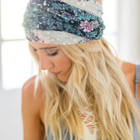 Midnight Lily Wide Headwrap