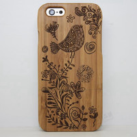 Magpie Wood Case Bird Solid wood Retro Wooden New Cover Carving flower Patterns Wood Slice Plastic Edges Back Cover for Iphone 6 case iPhone 6 Plus