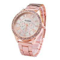 Womens Classic Style Luxury RoseGold Alloy Watch with Diamond Best Gift