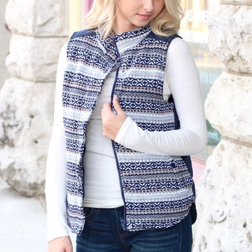 Hitting the Slopes Quilted Padded Vest {Navy+Grey}