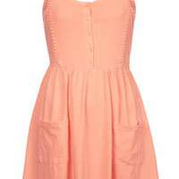 Lace Trim Strappy Sundress - Coral