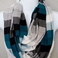 Shades of Teal & Grey Striped Fall Infinity Scarf Womens Fall Fashion Accessories Girls Knit Fall Scarves Womens Cowl Scarf