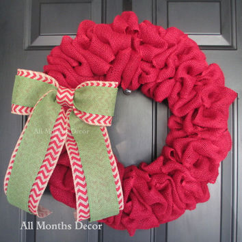 Red Burlap Wreath with Green over Red Chevron Bow