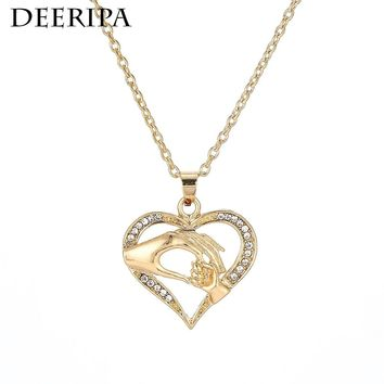 New Child Family Love Cubic Zirconia Neckalces Baby Heart Pendant Necklace Mother Jewelry Moms Birthday Mother's Day Gift