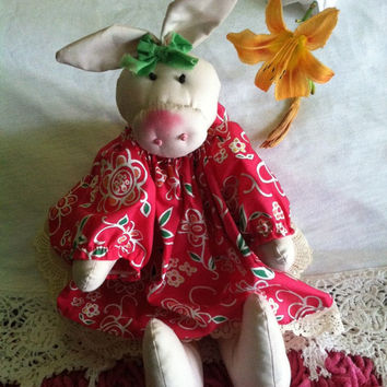 Folk Art Pig Doll Vintage Stuffed Handmade Pig in Pink Floral and Lace Dress Pink Collectible Pig Figurine Americana Folk Farm Animal
