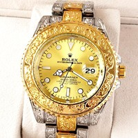 Rolex tide brand men and women models simple personality high-grade quartz watch Gold
