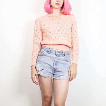 Vintage 1970s Sweater Peach Jumper Pointelle Knit Pullover V Neck Hippie Sweater 70s Sweater Apricot Pink Open Weave Knit XS Extra Small S