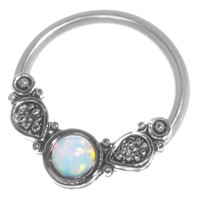 White Imitation Opal Captive Ring-20g-18g-16g-14g Cartilage Earring-Nipple Ring-Tragus-Septum Jewelry