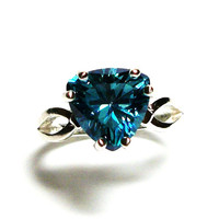 "Topaz, turquoise blue topaz, turquoise topaz ring, blue trillion ring, birthstone ring, blue solitaire ring,  s 6 1/2    ""Twinkle Toes"""