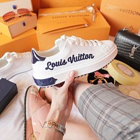 LV Louis vuitton new embroidered letter logo ladies thick sole shoes casual shoes