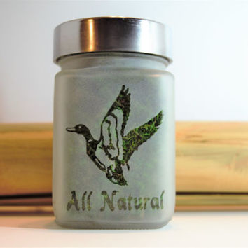 Mallard Duck All Natural Etched Glass Stash Jar - Hunting & Fishing Gifts