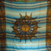Blue Striped Sun Moon Tapestry