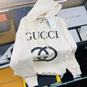 GUCCI Double g large letter printed Hoodie