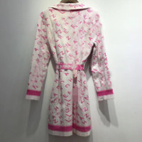 Fashionable V-collar nightgown with tie-up jacket and women's knitted sweater cardigan
