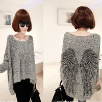 Fashion Wings Printed Irregular Bat Sleeve Loose Sweater &Cardigan