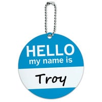 Troy Hello My Name Is Round ID Card Luggage Tag