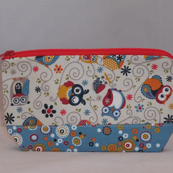 Zipper Pouch Made With Cream Colored Owl Fabric