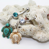 Belly button ring,Turquoise turtle belly ring,Turtle belly button jewelry,Lucky piercing jewelry
