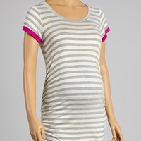 Mom & Co. Gray & White Stripe Maternity Scoop Neck Tee - Women | zulily