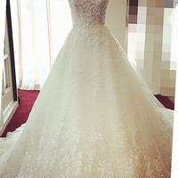 Popular lace beaded 2015 new Princess Bride Wedding Dress palace luxury = 1929888900