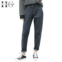 HEE GRAND 2018 High Waist Ankle-Length Mom Jeans Women Spring Washed Denim Straight Women Jeans Trousers Women Pants WKN481